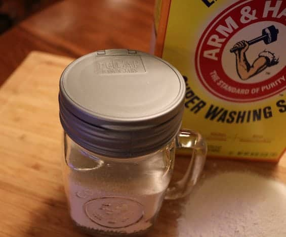 Shaker filled with super washing soda