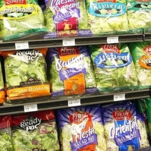 bagged salads in grocery store produce department