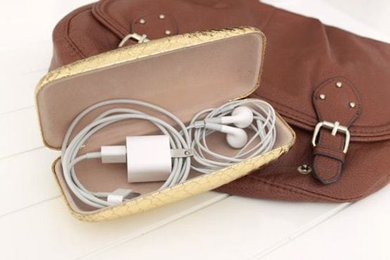 Glasses case used for storing charging cables
