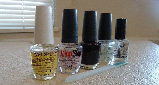 Nail polish on white counter top