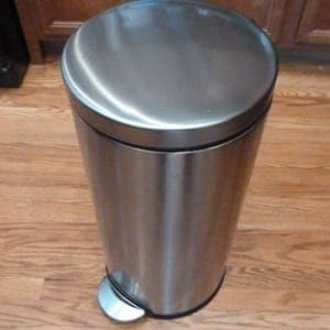simple human 30 liter round stainless steel trash can