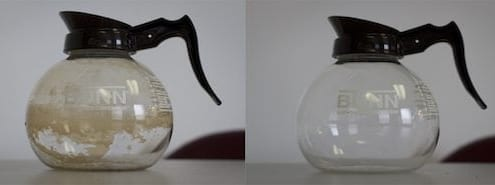 Glass coffee carafe before and after cleaning with salt and ice