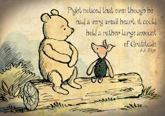 Winnie the Pooh telling Piglet that the secret to contentment is found in gratitude