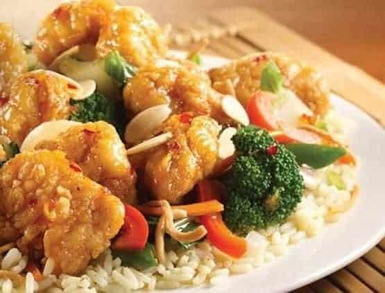 Orange chicken with rice and vegetables