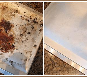 dirty pan to clean pan