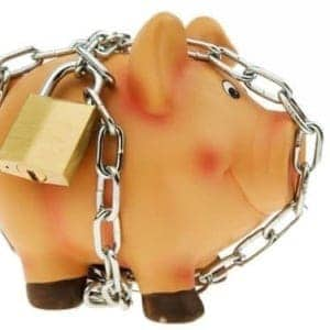 Piggy bank locked up to stop raiding its reitirement account