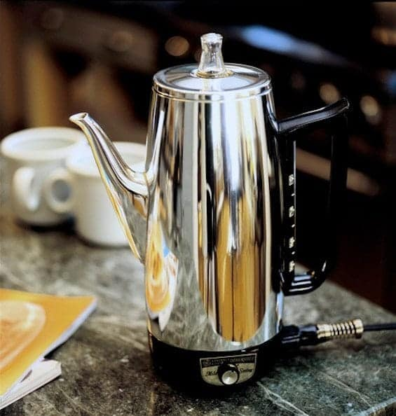 Electric coffee percolator freshly cleaned with Dip-It