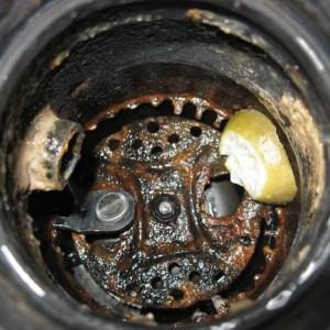 A close up of a metal pan