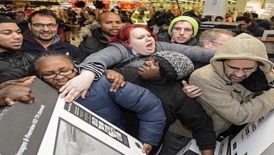 A group of people in a store
