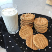 homemade peanut butter cookies glass of cold milk