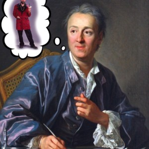 Denis Diderot sitting on a table