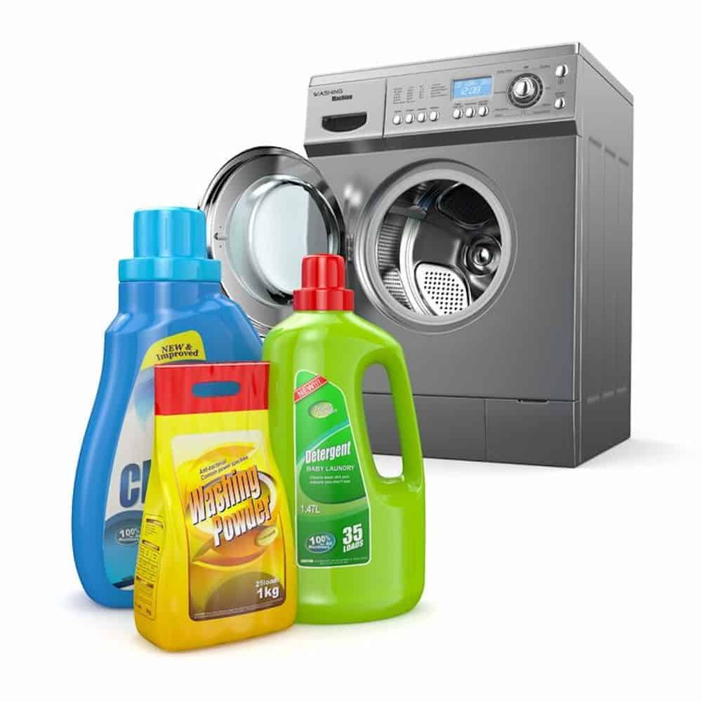 Washing machine and 3 bottles laundry detergent