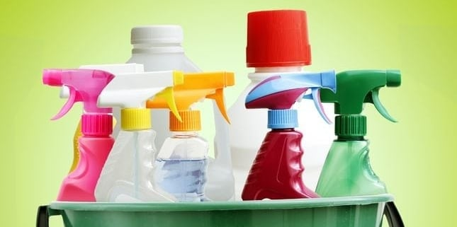 Cleaning bottles in bucket that hold homemade cleaners better than store bought