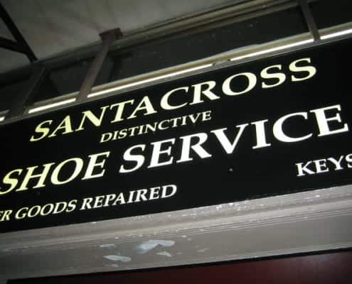 Sign over shoe repair/service store