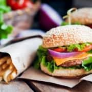 Restaurant hamburger and fries good enough to eaat