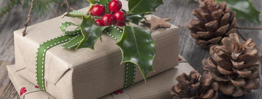 Christmas vintage presents on a wooden background