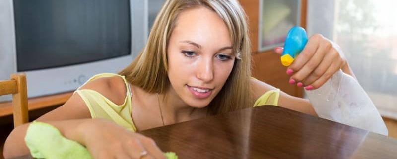 Young woman polishing table with homemade furniture polish