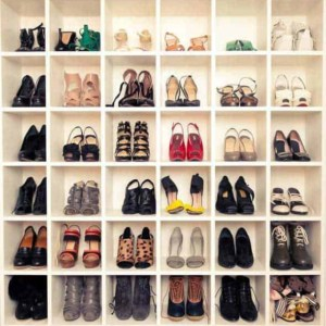 36 pairs women's shoes neatly displayed in closet cubbies