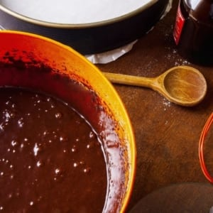 preparing chocolate cake batter