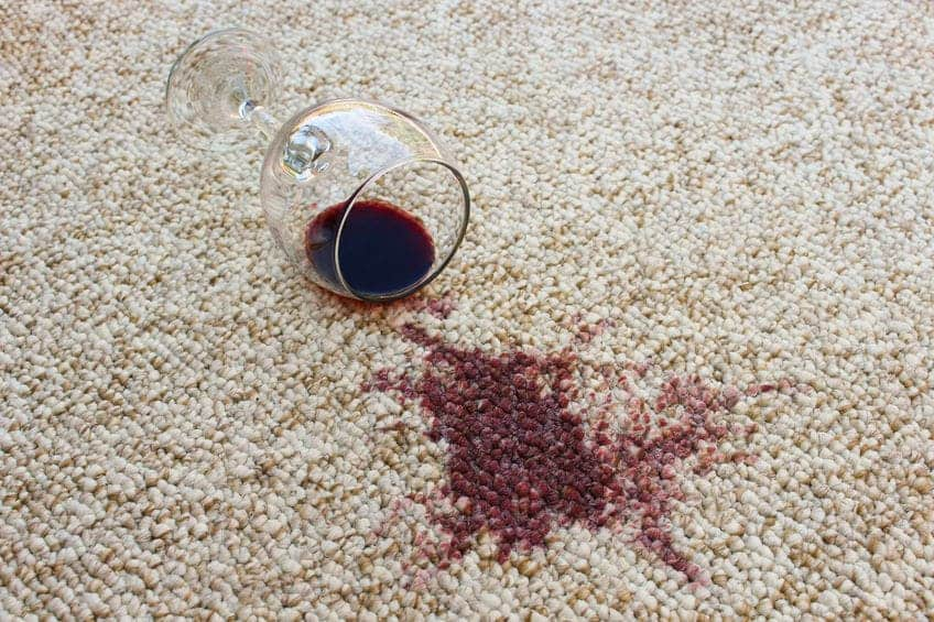 glass red wine carpet stain