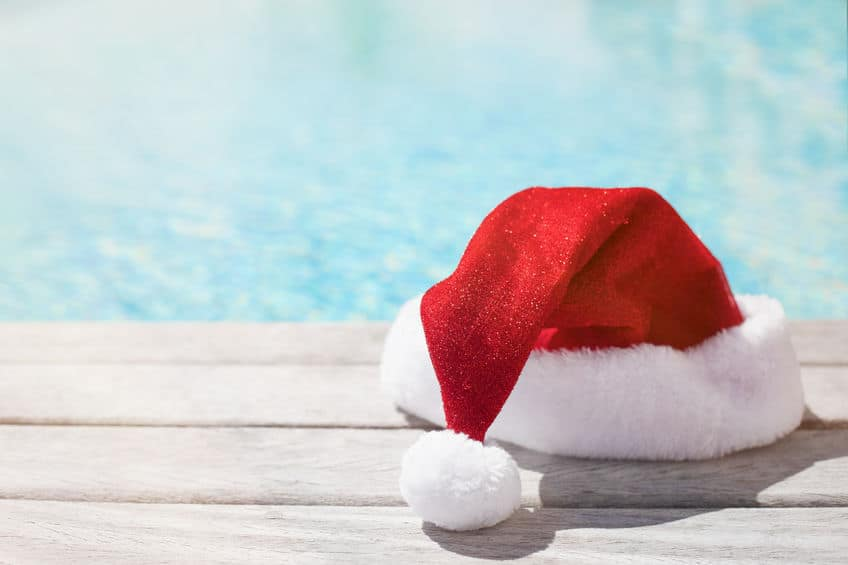 Santa's hat next to the pool suggesting it's Christmas in July!