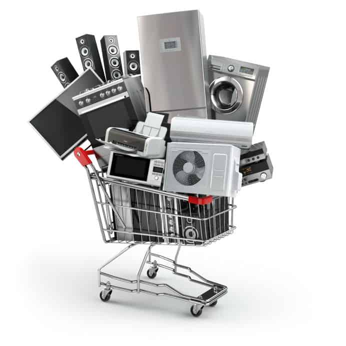 Home appliances loaded into a shopping crat