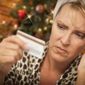 woman upset by Christmas credit-card debt