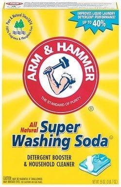 Yellow box ofArm & Hammer washing soda