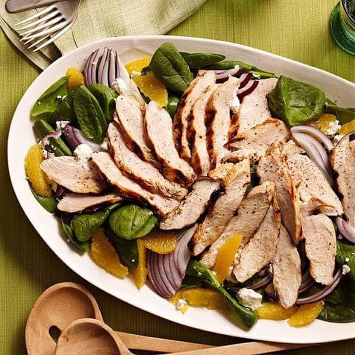 Orange Chicken Spinach Salad with Feta