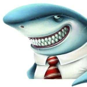 a smiling cartoon shark dressed in business suit as pawn shop owner