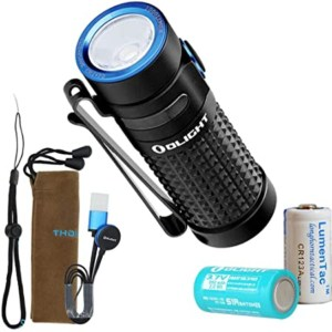 olight mini flashlight wit accressories on white background