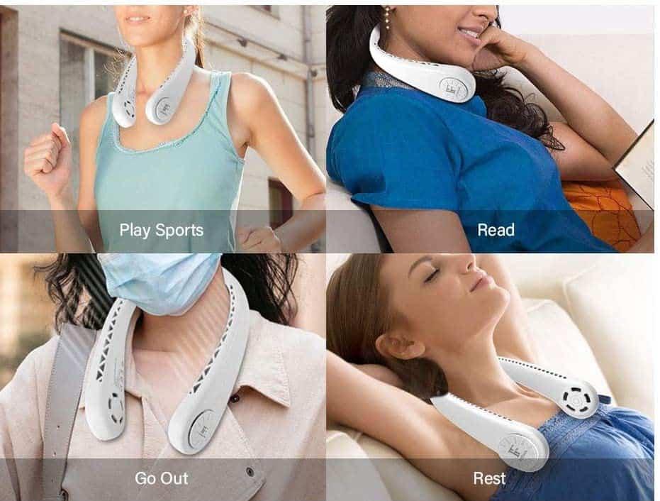 women using neck fan