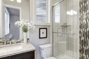 Beautiful modern bathroom cleaned with powerful homemade soap and scum cleaner