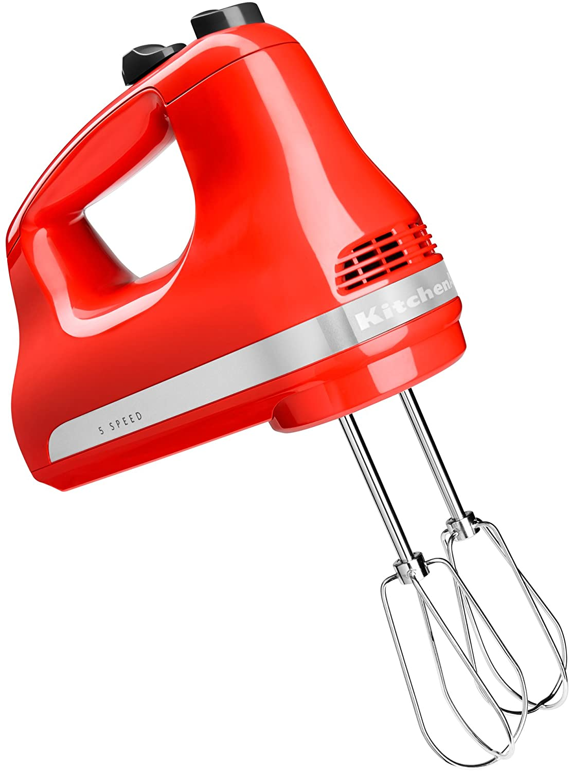 KitchenAid 5-speed hand mixer in bright red