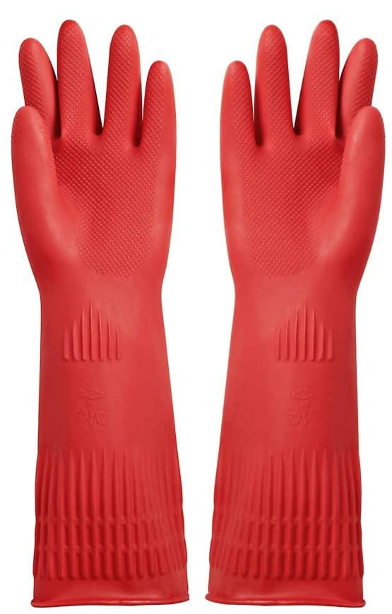 red rubber gloves perfect to remove pet hair