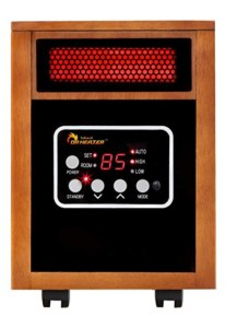 Infrared space heater that is cheap to operate and heats objects not surrouding air