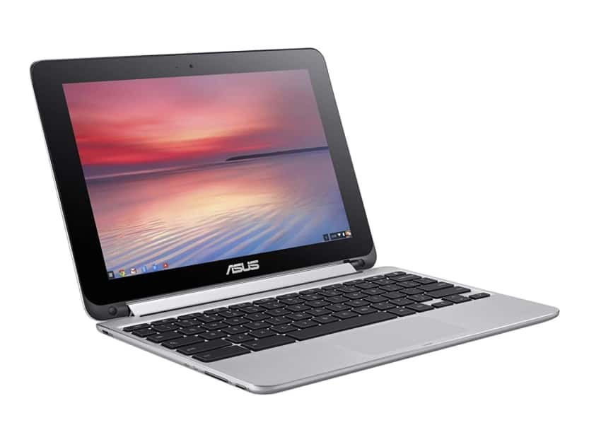 Asus Chromebook flip computer showing how it goes from laptop to stand to tablet
