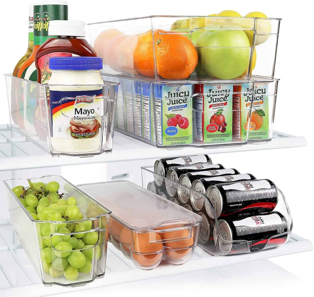 stackable storage containers in the refrigerator