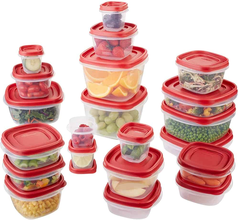 refrigerator storage containers with red lids