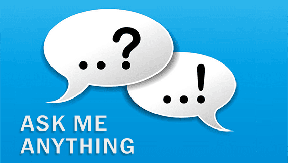 Speech bubbles that say ask me anything