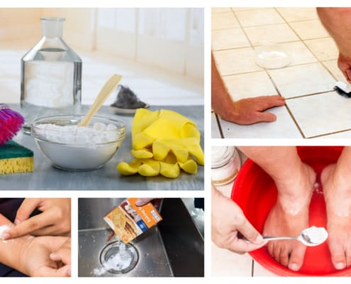 Collage depicting many uses for baking soda
