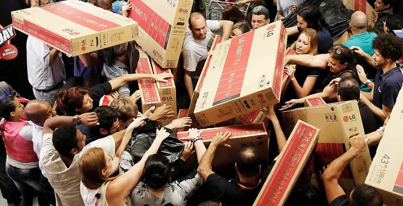 crowded fighting over TVs on Black Friday