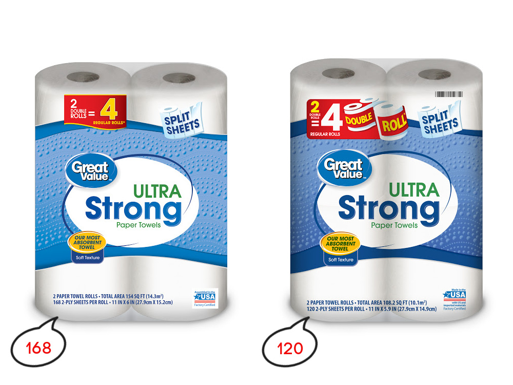 Walmart paper towels shrink in size not price