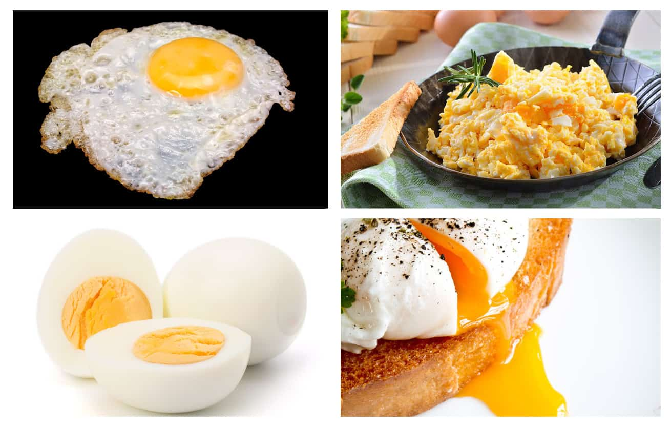 collage of well prepared eggs