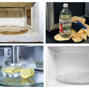 microwave cleaning collage