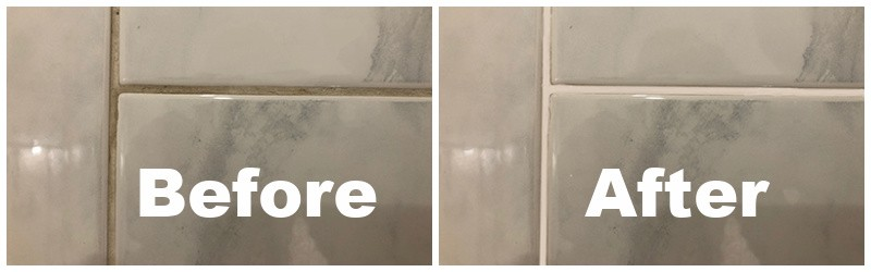 tile floor before and after cleaning the grout