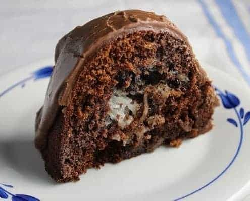 Yummy slice of homemade from-scratch chocolate macaroon bundt cake