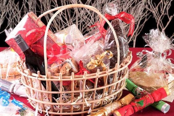 Beautiful Christmas gift basket filled with edibles