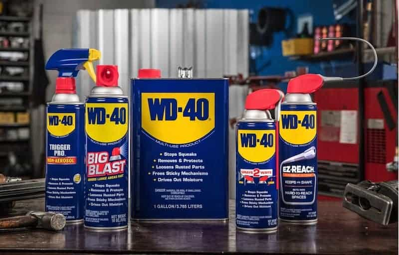 5 cans WD40 in different sizes for specific problems around the house