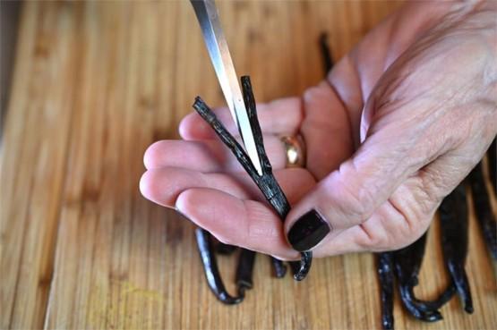 slitting vanilla bean with scissors